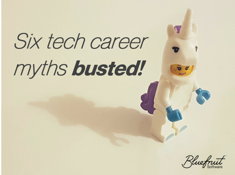 "A LEGO unicorn person figure beside the words ""Six tech career myths busted!"""