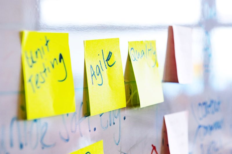 Post-Its on a whiteboard.