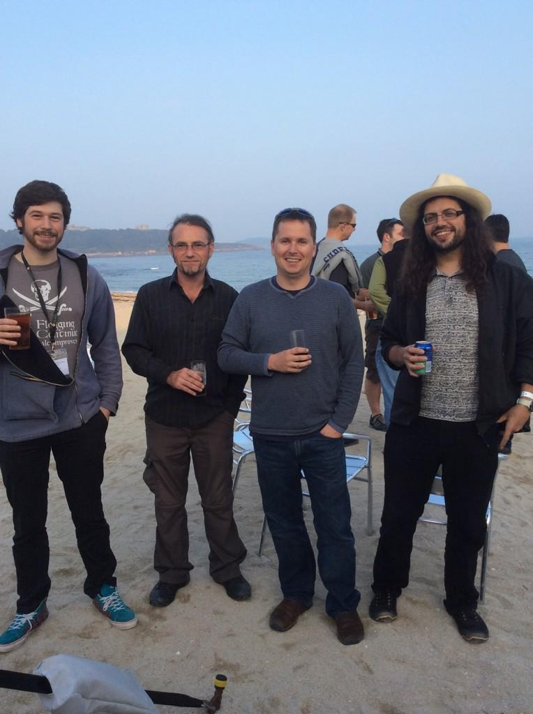 The Bluefruit team enjoy a drink on the beach