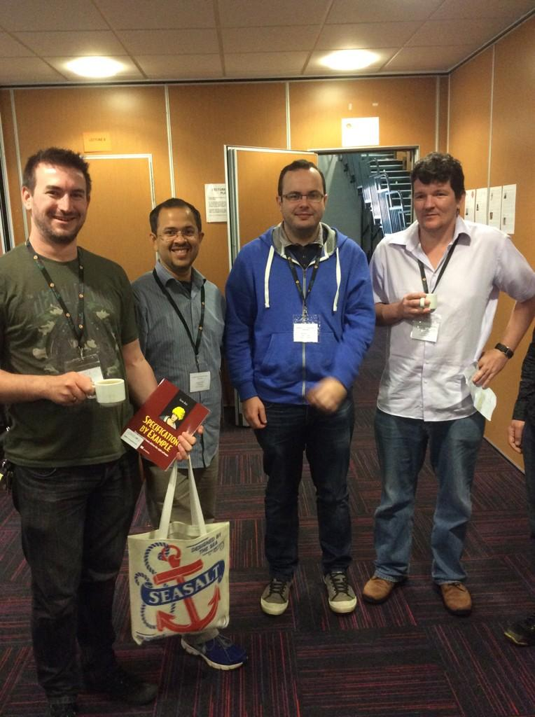 Bluefruit team having a coffee before the talks